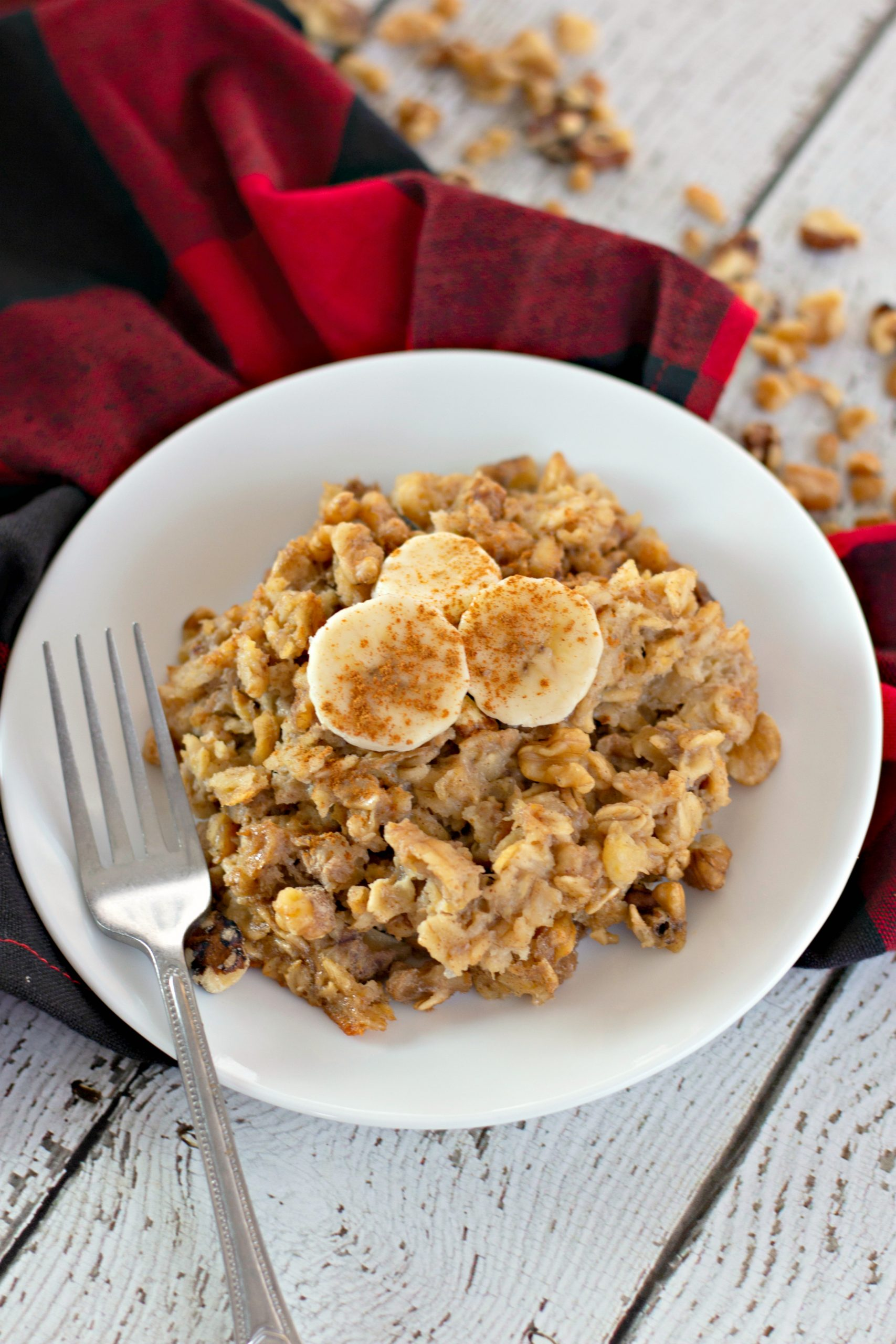 banana bread oatmeal in a bowl with a fork