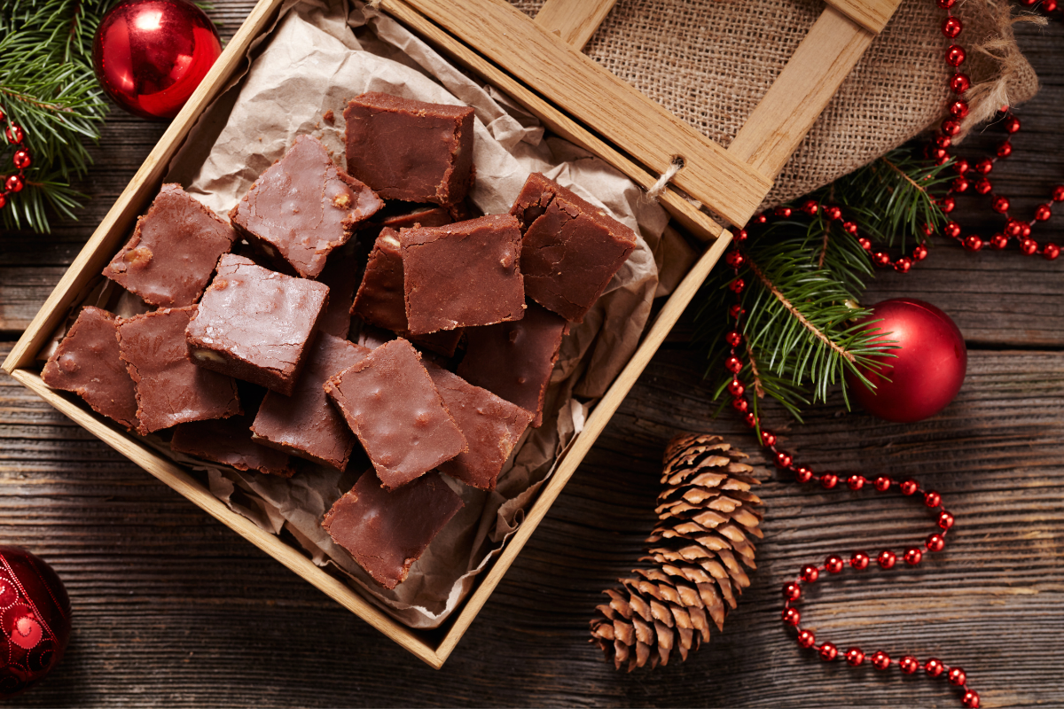 a box of marshmallow fudge ready for Christmas